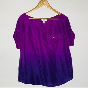 LOFT silk purple ombré blouse, size L